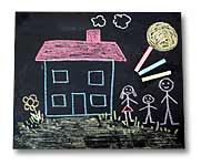 A chalk board with a child's drawing of a happy family